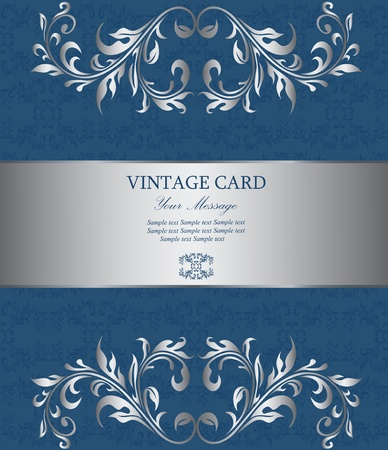 royal blue background: Floral silver vintage card