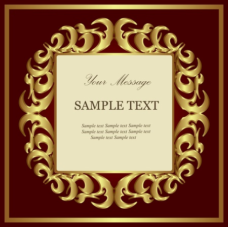 Red gold-framed label   Vector