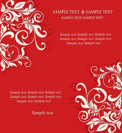 Rode uitnodiging vintage kaart met florale elementen