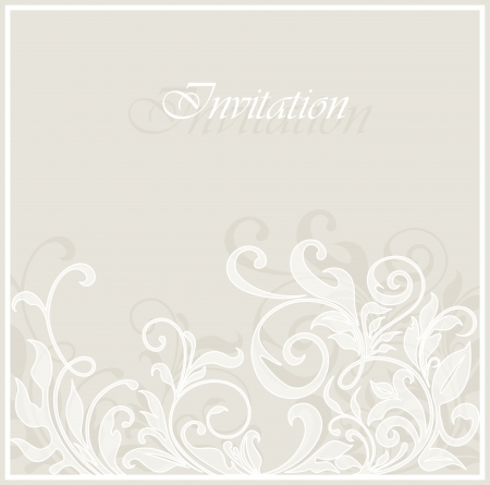 Beautiful invitation vintage card with floral elements  Vector