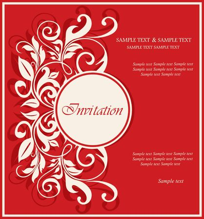 congratulations text: Red invitation vintage card with floral elements  Illustration