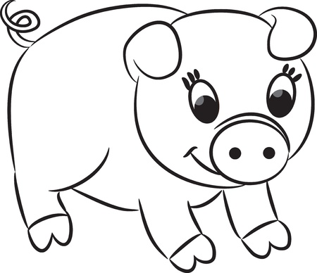 outlined isolated: Cartoon pig  illustration