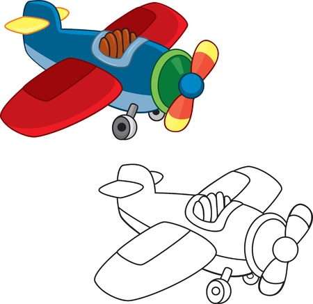 Toy plane  Coloring book Vector