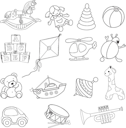 pull toy: Colorear Bebé s juguetes ilustración de libros Vectores