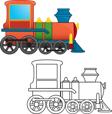 the locomotive isolated: Train toy  Coloring book