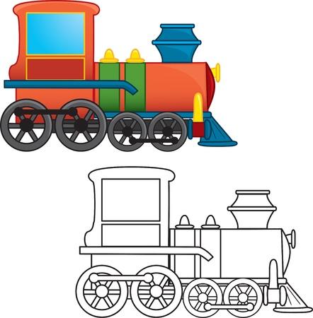 outlined isolated: Tren de juguete para colorear libro