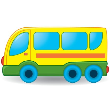 outlined isolated: Bus de juguete. Ilustraci�n vectorial