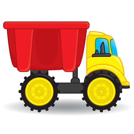 boys toys: Colorful dump truck toy  Vector illustration