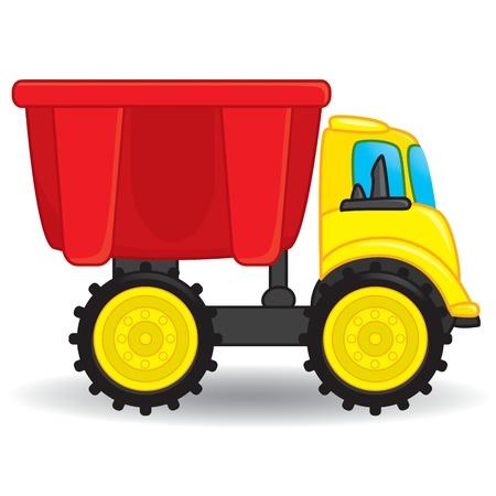 Colorido juguete volcado camión. Ilustración vectorial