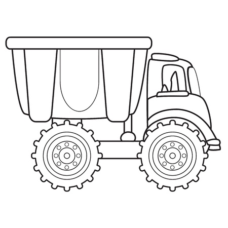 outlined isolated: Dump truck toy  Vector illustration Illustration