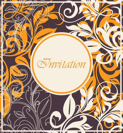 date of birth: Damask invitation vintage card with floral elements