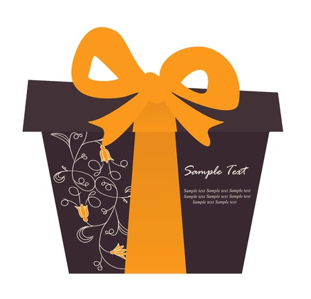 gift wrap: Gift box card with floral elements  Vector illustration