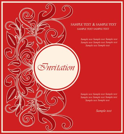 Red invitation vintage card  Vector