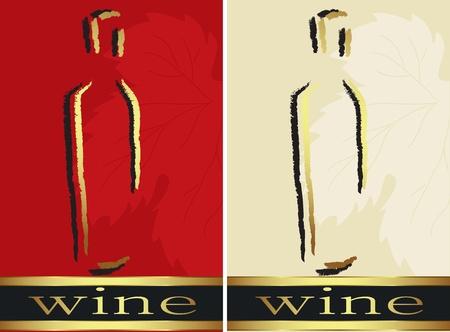 clip art wine: Set of bottle labels  Vector Illustration