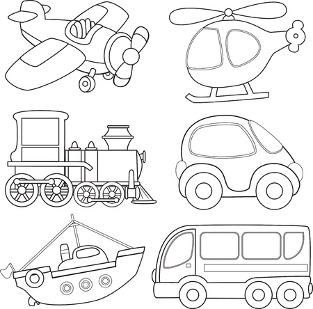 tren caricatura: Transporte Cartoon Coloring Book Vectores