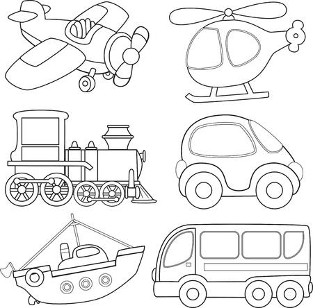 Transporte Cartoon Coloring Book Ilustración de vector