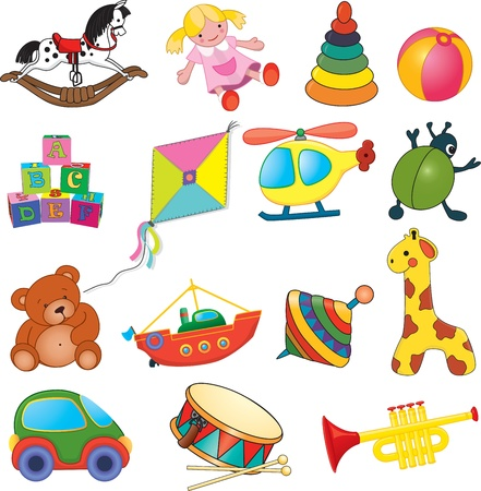 toy boat: Vector set of baby s toys  Illustration
