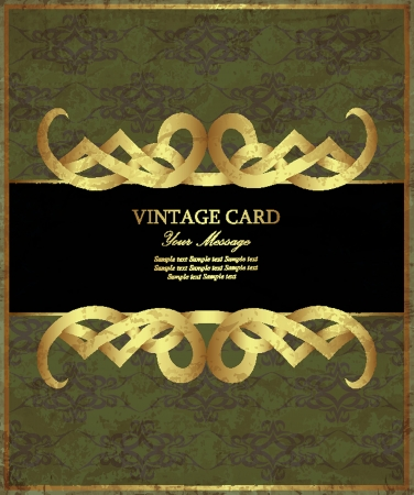 Damask green with gold vintage card. Vector illustration Vector