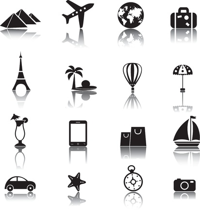 booking: Travel icons set, vector