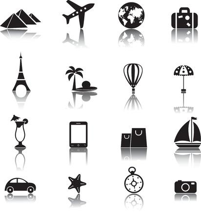 plane icon: Travel icons set, vector