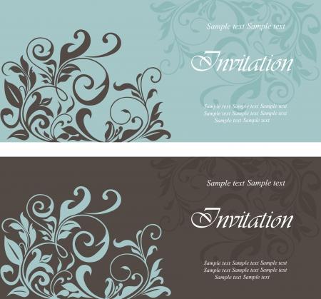 tarjeta de invitacion: Conjunto de tarjetas de invitación florales. Vectores