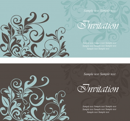 wedding invitation: Set of floral invitation cards. Illustration