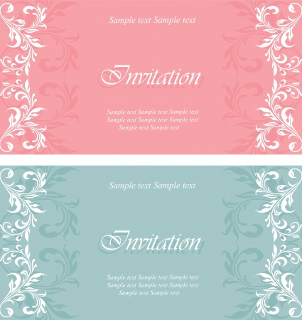 wedding frame: Set of invitation vintage cards