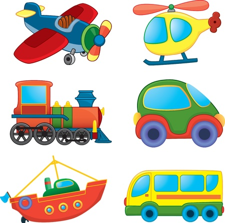 carro caricatura: Cartoon transporte. Vector set
