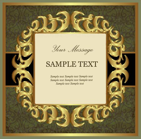 Green with gold vintage card Vector