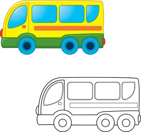 transporte escolar: Bus de juguete. Libro para colorear. Ilustración vectorial