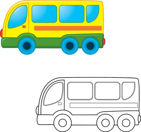 outlined isolated: Bus toy  Coloring book illustration