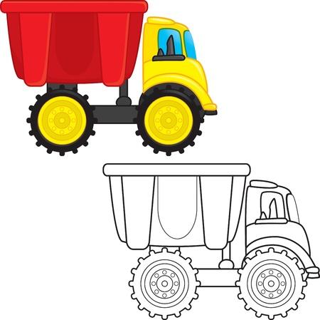 volteo: Vuelca camión de juguete. Libro para colorear. Ilustración vectorial