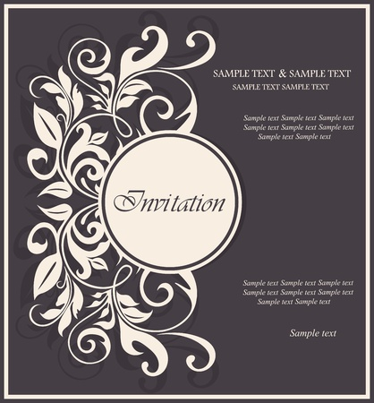 Beautiful floral invitation card. Vector