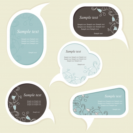 Speech bubbles set with floral elements Vector