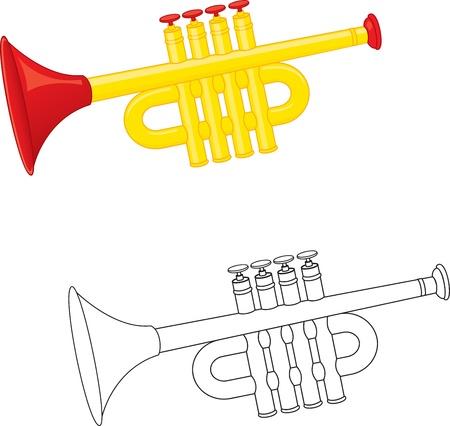 trompeta: Trompeta de juguete. Libro para colorear. Vector Vectores