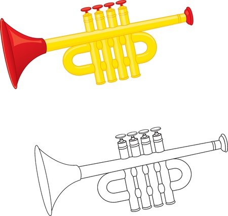 brass wind: Trumpet toy. Coloring book. Vector