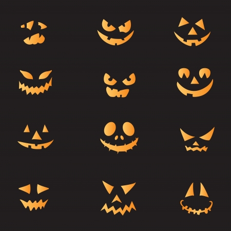 wicked set: Scary faces of Halloween pumpkin. Vector