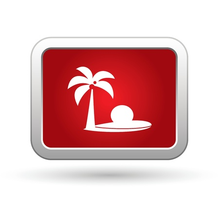 excursions: Tropical beach with palm tree icon. Vector