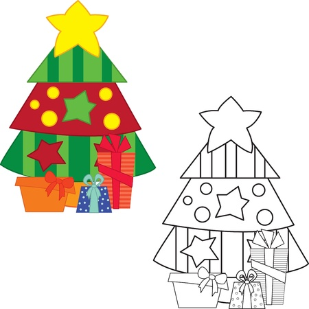 book vector: Christmas tree with gifts. Coloring book. Vector illustration