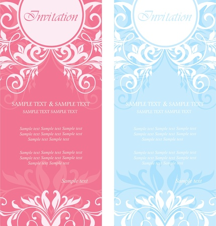 wedding card design: Set of floral invitation cards  Illustration