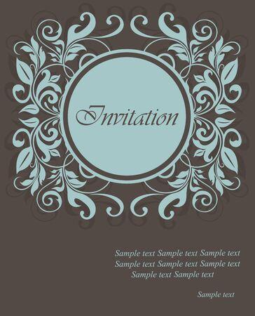 date of birth: Floral invitation card