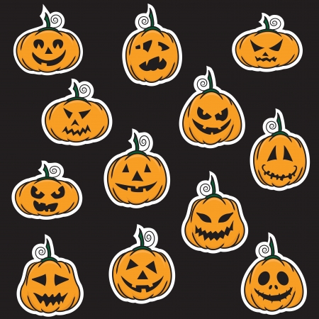 wicked set: Halloween pumpkin stickers - vector illustration