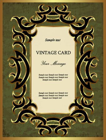 Green with gold vintage card  Vector illustration Vector
