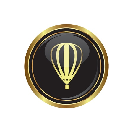 buoyant: Round golden button with hot air balloon icon. Vector illustration