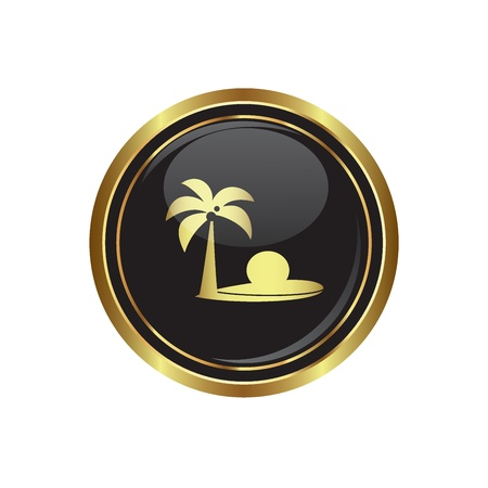 coconut water: Round golden button with tropical beach and palm tree icon. Vector