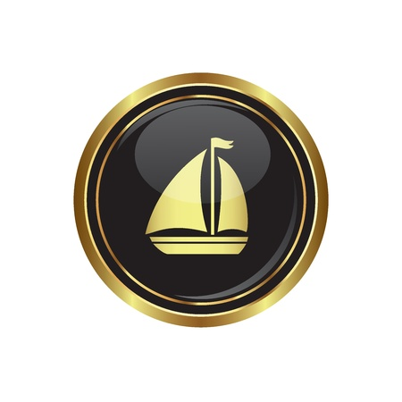 excursions: Round golden button with sailboat Icon. Vector illustration