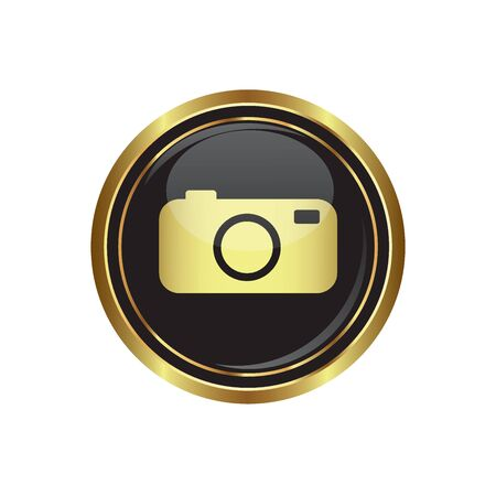 Round golden button with camera Icon. Vector illustration