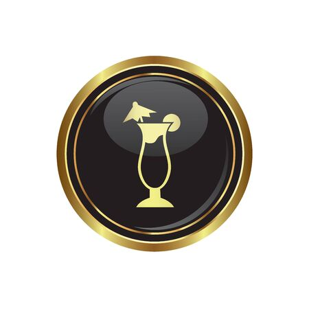 martini glass: Round golden button with cocktail icon. Vector.