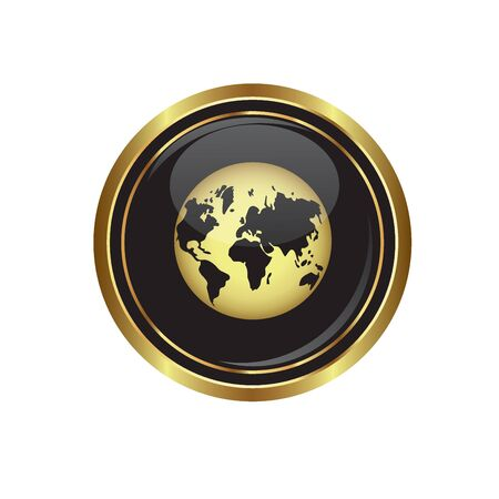 golden globe: Round golden button with earth globe icon. Vector illustration