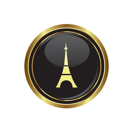 Round golden button with Eiffel tower icon. Vector illustration Stock Vector - 16125524